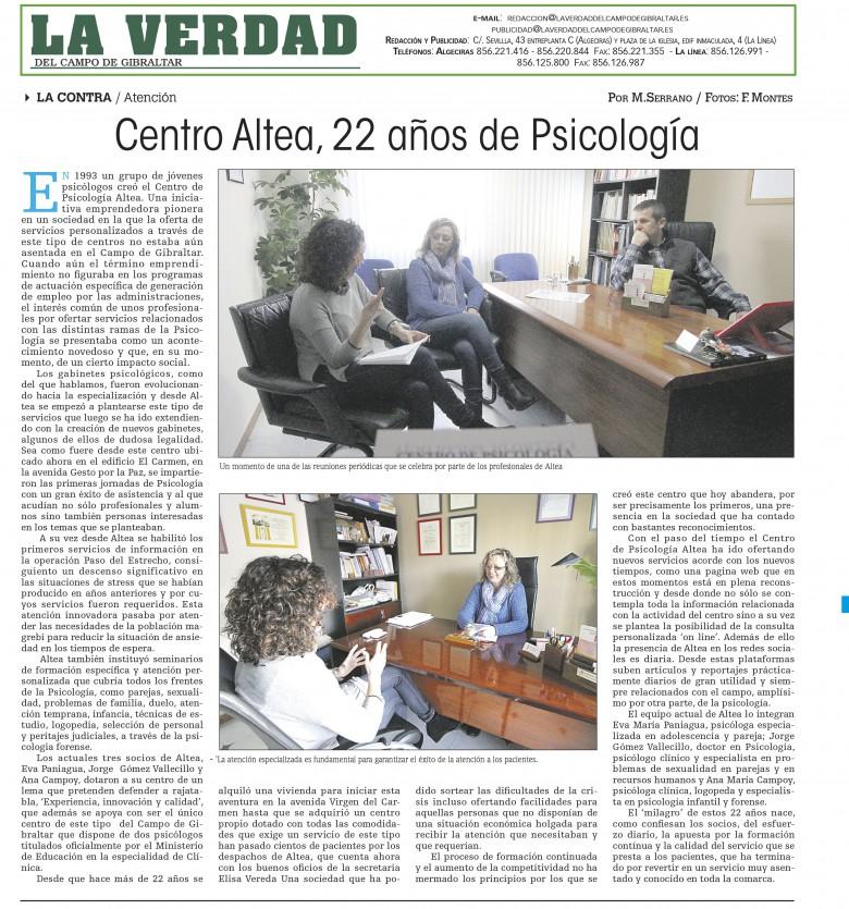 Diario La Verdad, Altea 22 años de psicologia